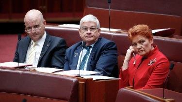 Senators David Leyonhjelm, Brian Burston and Pauline Hanson during the same-sex marriage debate in the Senate on Tuesday.