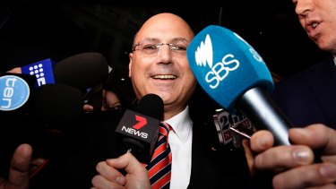Senator Arthur Sinodinos outside ICAC last year. He was called to give evidence about Australian Water Holdings.