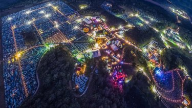 An aerial view of the North Byron Parklands, which hosts two of the largest music festivals in Australia.