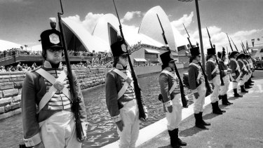 Troopers on guard near the Sydney Opera House.