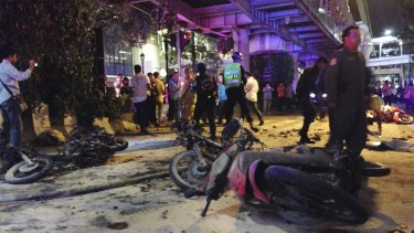 The scene of the explosion in Bangkok on Monday night.