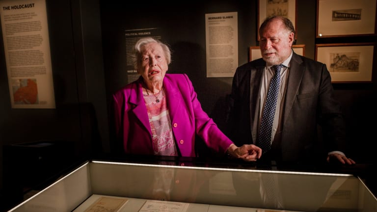 Holocaust survivor Irma Hanner with Jewish Holocaust Centre director Warren Fineberg.  Irma Hanner speaks about her possessions included in the Australian War Memorial's permanent Holocaust exhibition.