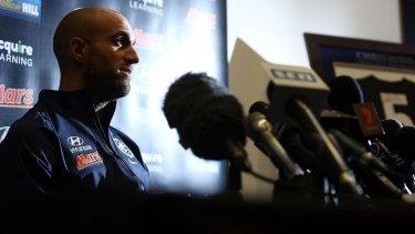 Chris Judd speaks to the media, announcing his retirement on Tuesday.