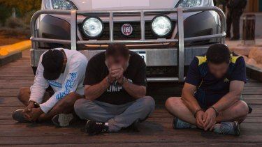 Three of the eight men arrested in the methamphetamine bust in Geraldton in Western Australia.