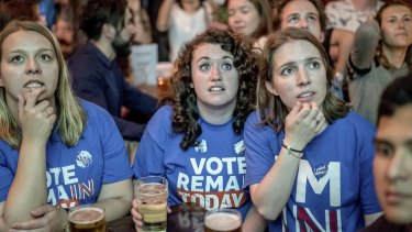 A referendum results party at the Lexington pub in London.