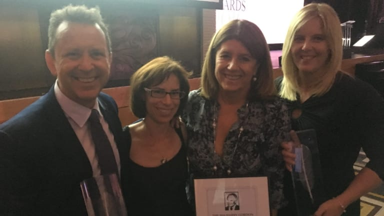 Caroline Wilson, with the Harry Gordon Australian sports journalist of the year award in 2016 with Age colleagues Michael Gleeson, Chloe Saltau and Emma Quayle.