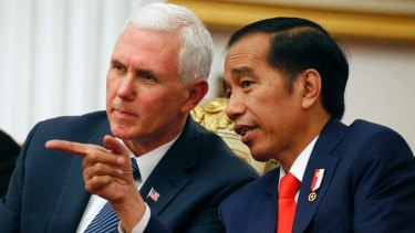 Mike Pence with Indonesian President Joko Widodo in Jakarta on Thursday.