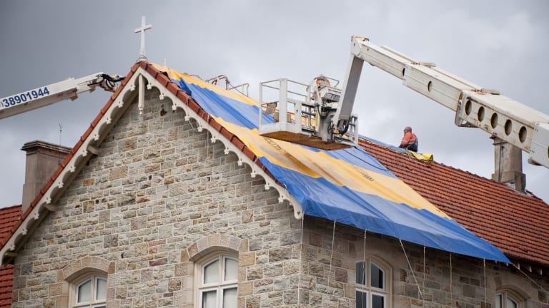 St Josephs College on Gregory Tce suffered heavy hail damage to its tiled roofs in November's storm.