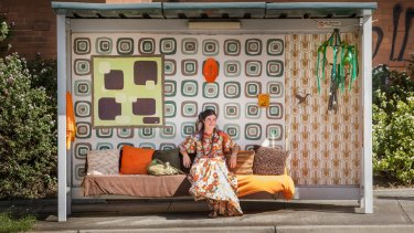 A bus stop in Melbourne's north has been transformed into a 1970s living room