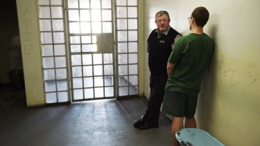 Reverend Rod Moore with an inmate at Silverwater prison.