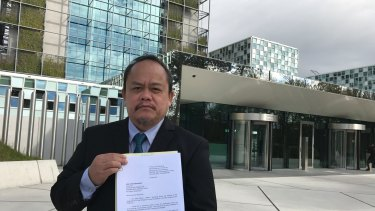 Lawyer Jude Sabio from the Philippines outside the International Criminal Court in The Hague, Netherlands.