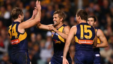 Mark LeCras celebrates a goal.