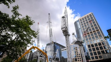 Crane numbers have reached record levels across Melbourne.