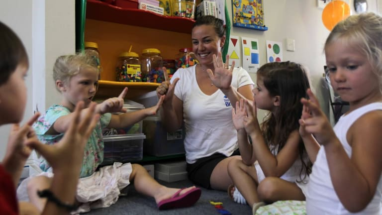 Tina Tower with preschool pupils at her Begin Bright class in Cronulla. Tina prepares children as young as three for school.  Left to right: Luka Fotak, Halle Bresnahan, Tina Tower, Tayla Nolan and Rome Southwell.