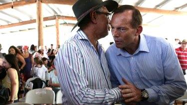 Prime Minister Tony Abbott and Warren Mundine during a visit to Arnhem Land in 2013.