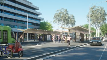 An artist's impression of the Capital Metro Gungahlin tram line.
