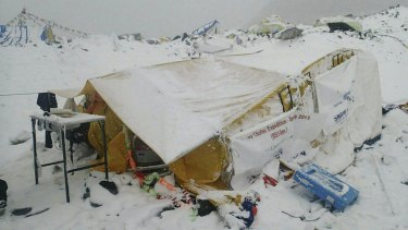 The scene after an avalanche triggered by a massive earthquake swept across Everest Base Camp in Nepal.