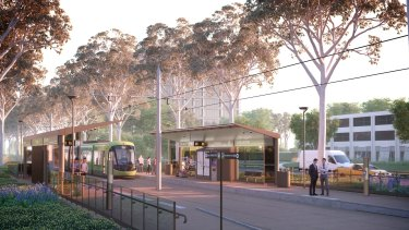 An artist's impression of the Capital Metro tram line.