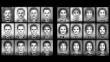 The evolution of the smile throughout the 20th century.