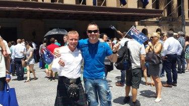 Martin Penrose with friend Alan Celinski at the citizenship ceremony in Brisbane.
