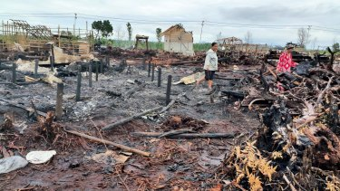 The razed Gafatar camp at Mempawah regency, West Kalimantan.