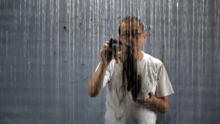FX Harsono's Writing in the Rain 2, 2017.