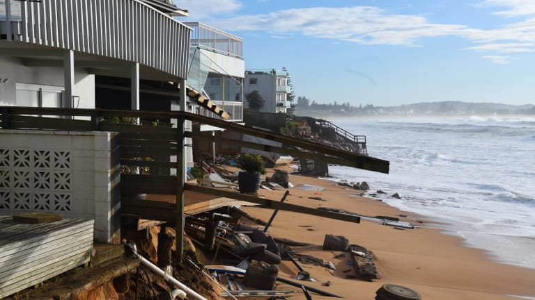 Waterfront properties at Collaroy were damaged again in Monday night's king tide.