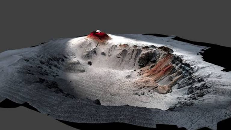 This image shows the high resolution seafloor topography of the Havre caldera with the lava from the 2012 eruption in red. The volcano, near New Zealand, is 1519 metres deep. Its top is 650 metres below sea level.