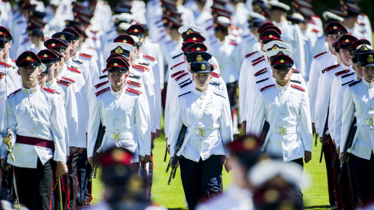 Australian Defence Force Academy officer cadets at a graduation parade.