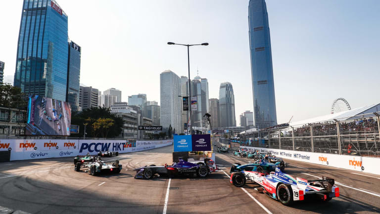 Abt took the chequered flag after Felix Rosenqvist spun out of the lead.
