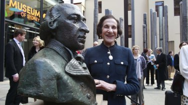 Outgoing NSW governor Dame Marie Bashir unveils the memorial bronze bust of Captain Arthur Phillip in the forecourt of the Museum of Sydney.