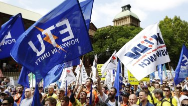 Workers gathered in Sydney to voice their concerns over asset sales and penalty rate cuts.