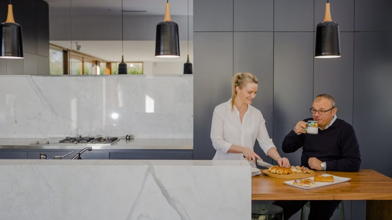 Marissa Christian and Michael Capezio in the kitchen of their renovated Griffith home.