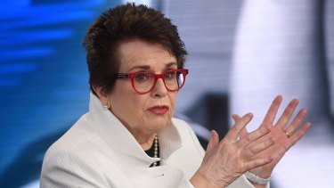 Call for change: Billie Jean King at the media conference where she again called for Margaret Court Arena to be renamed.