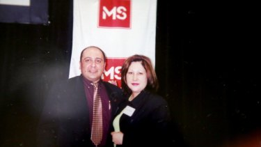 Anthony Virgona in 2000 receiving an award from the MS Society.
