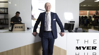 "Myer CEO Richard Umbers hopes Myer's new ""digital Hub"" will lure shoppers back to stores."