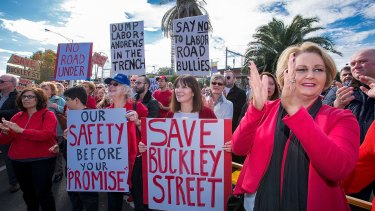 Essendon locals rally against the government's plans for the Buckley Street level crossing.