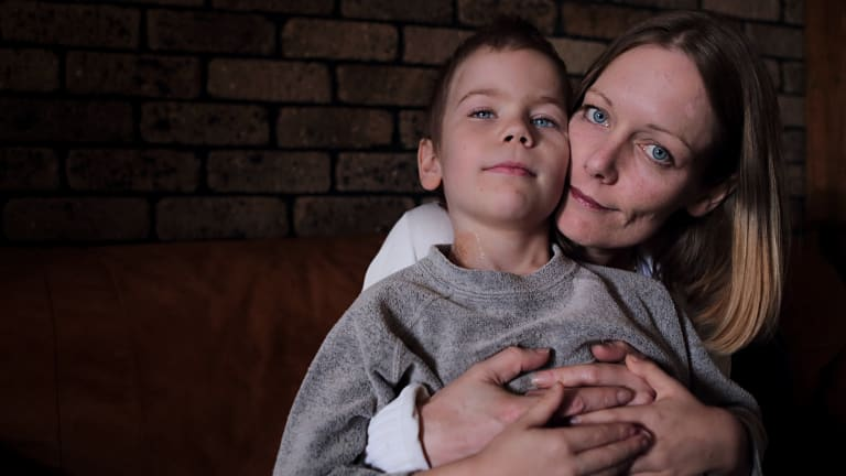 Angela Kiszko with her son Oshin before his death on Wednesday.