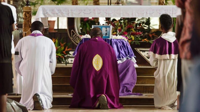Clergy at the funeral service for Dalzinia Kioniau.