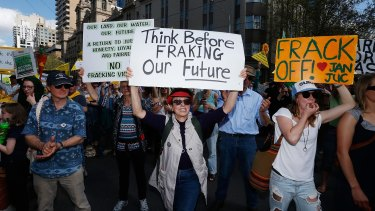 Protesters against fracking marched from the State Library to Parliament House in Melbourne.