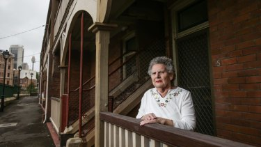 Millers Point resident Patricia Tiedeman, 72, outside her home at Dalgety Terrace. She has lived her entire life in Millers Point.