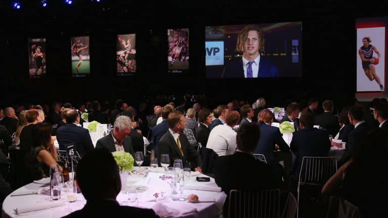 Nat Fyfe of the Dockers accepts his MVP Award on Tuesday night.