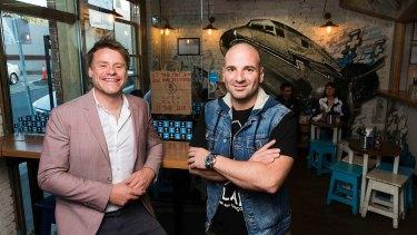 Radek Sali and George Calombaris at Fitzroy restaurant Jimmy Grants