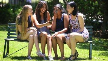 High achievers: MLC Burwood students Lily Frame, Amaani Hatoum, Shalomi Rajanayagam and Megan Foo received their IB results on Monday.