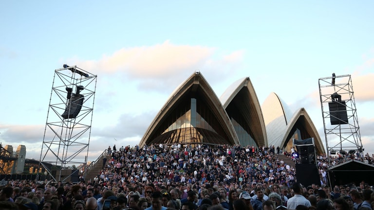 """Architect Andrew Andersons described the temporary infrastructure – fencing, stages, stalls – for outdoor events at the Opera House as """"an insult to visitors and residents""""."""