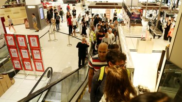 Shoppers visit Myer on Boxing Day.