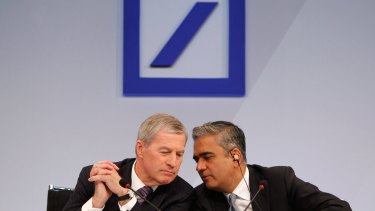 Anshu Jain, right, and Juergen Fitschen, then co-chief executives of Deutsche Bank, during a news conference in Frankfurt in 2013.
