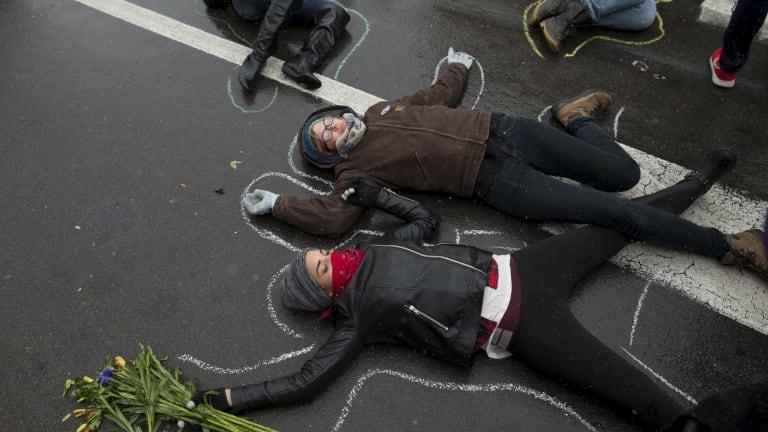 Demonstrators protest the police shooting of Michael Brown in Ferguson, Missouri, in 2014.