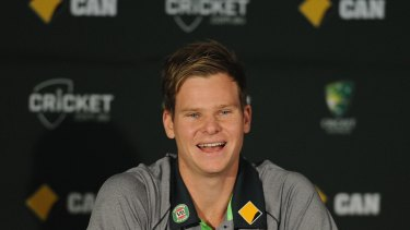 Australia's new captain Steve Smith greets the media on his first day in the job.