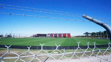 Essendon at a closed training session on Monday.